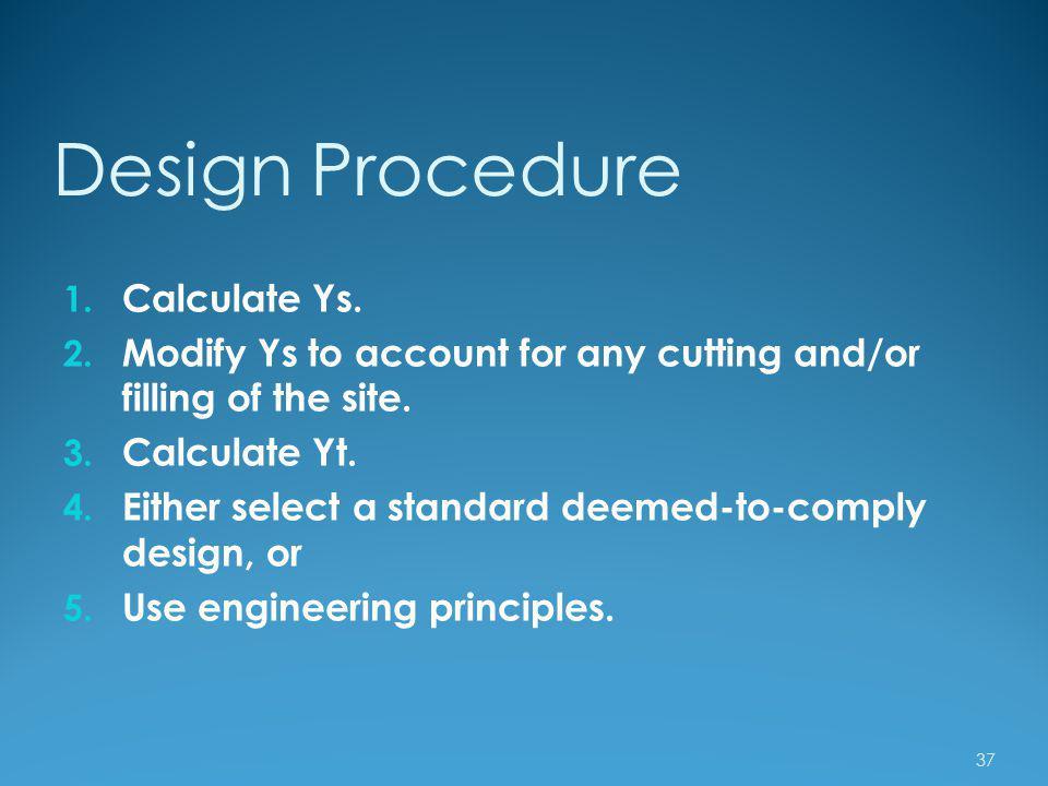 Design Procedure Calculate Ys.
