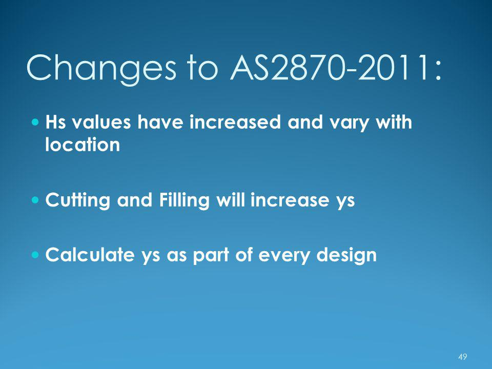 Changes to AS2870-2011: Hs values have increased and vary with location. Cutting and Filling will increase ys.