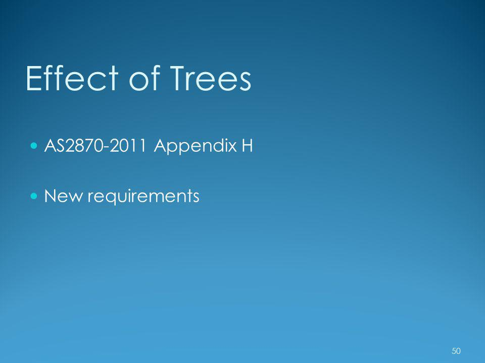 Effect of Trees AS2870-2011 Appendix H New requirements