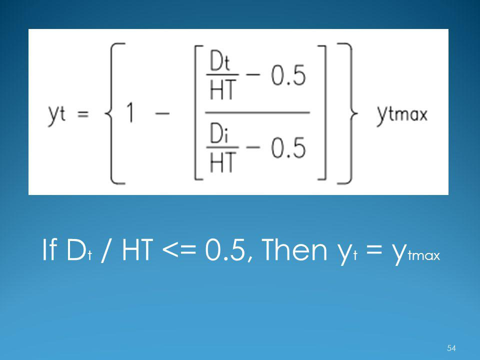 If Dt / HT <= 0.5, Then yt = ytmax
