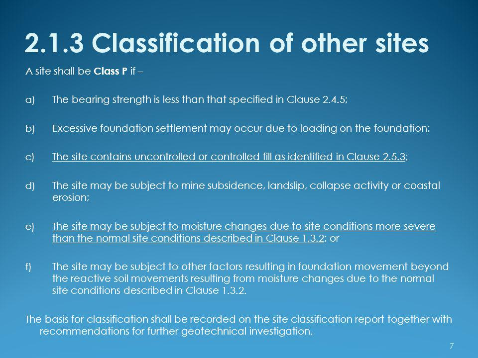 2.1.3 Classification of other sites