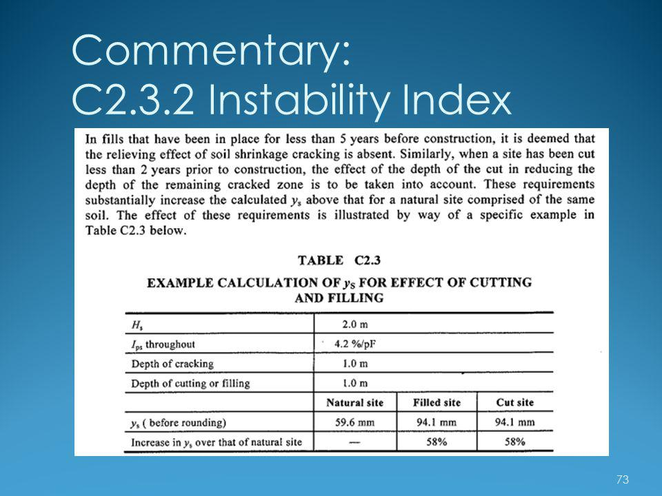 Commentary: C2.3.2 Instability Index