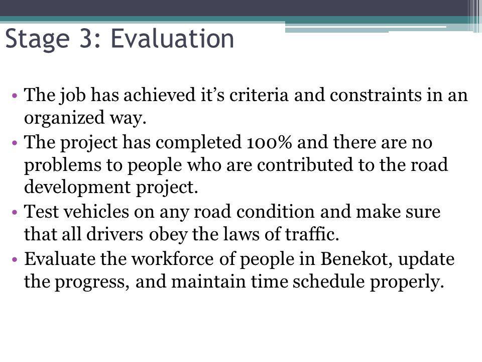 Stage 3: Evaluation The job has achieved it's criteria and constraints in an organized way.
