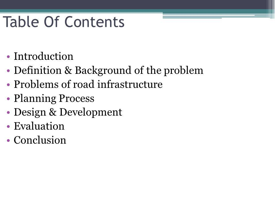 Table Of Contents Introduction Definition & Background of the problem