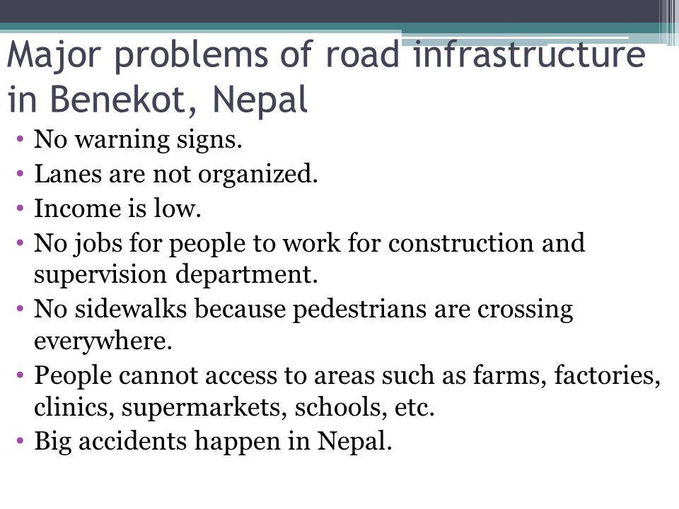 Major problems of road infrastructure in Benekot, Nepal