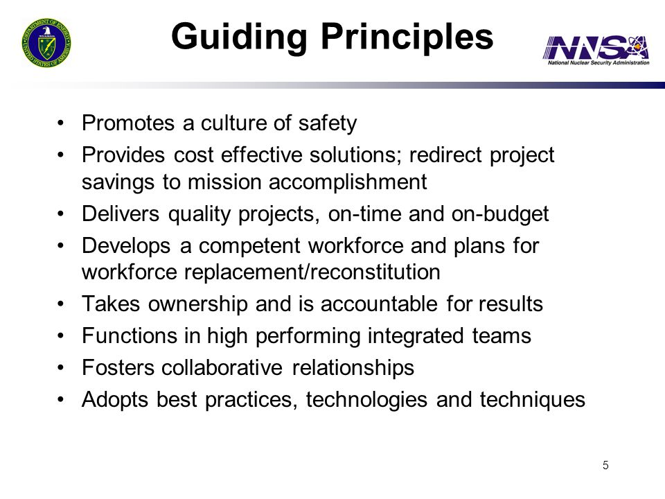 Guiding Principles Promotes a culture of safety