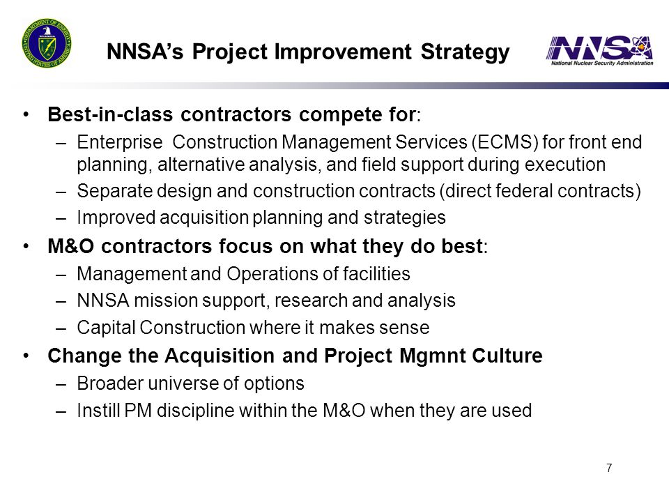 NNSA's Project Improvement Strategy