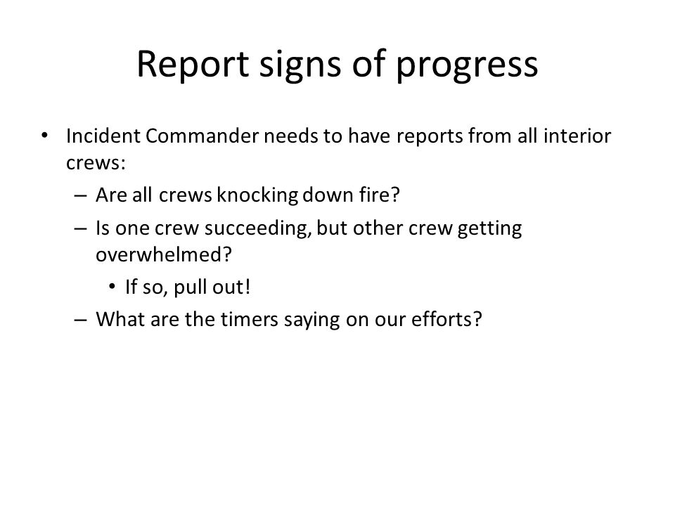 Report signs of progress