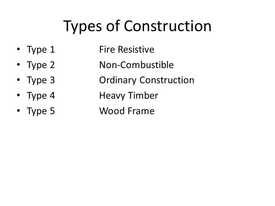 Types of Construction Type 1 Fire Resistive Type 2 Non-Combustible