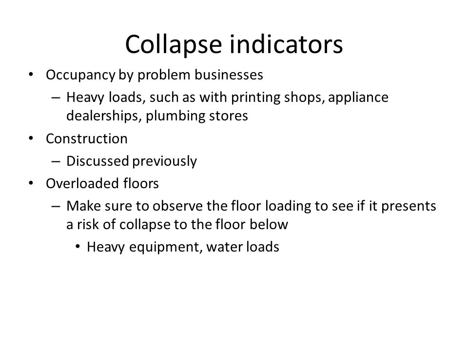 Collapse indicators Occupancy by problem businesses