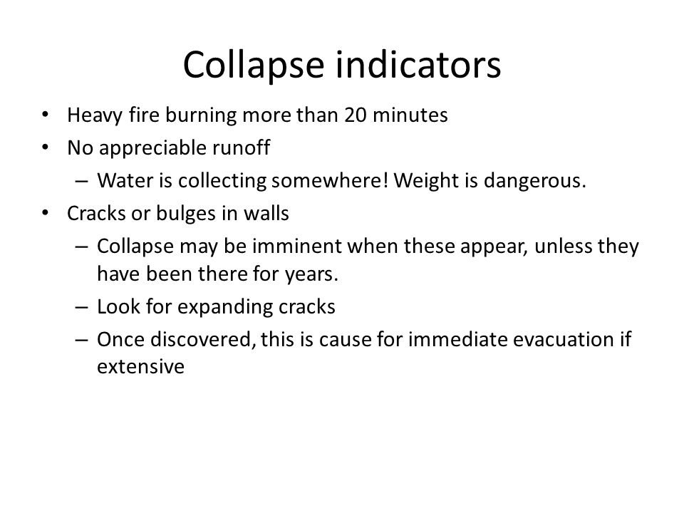 Collapse indicators Heavy fire burning more than 20 minutes