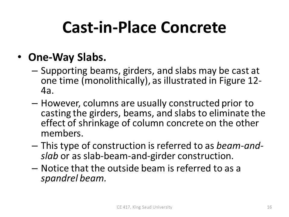 Cast In Place Concrete Slabs : Concrete construction part ppt video online download