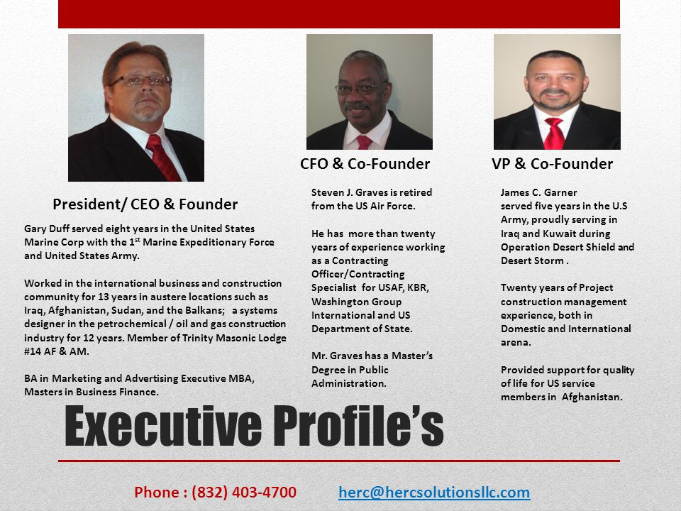 Executive Profile's CFO & Co-Founder VP & Co-Founder