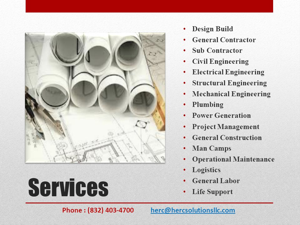 Services Design Build General Contractor Sub Contractor