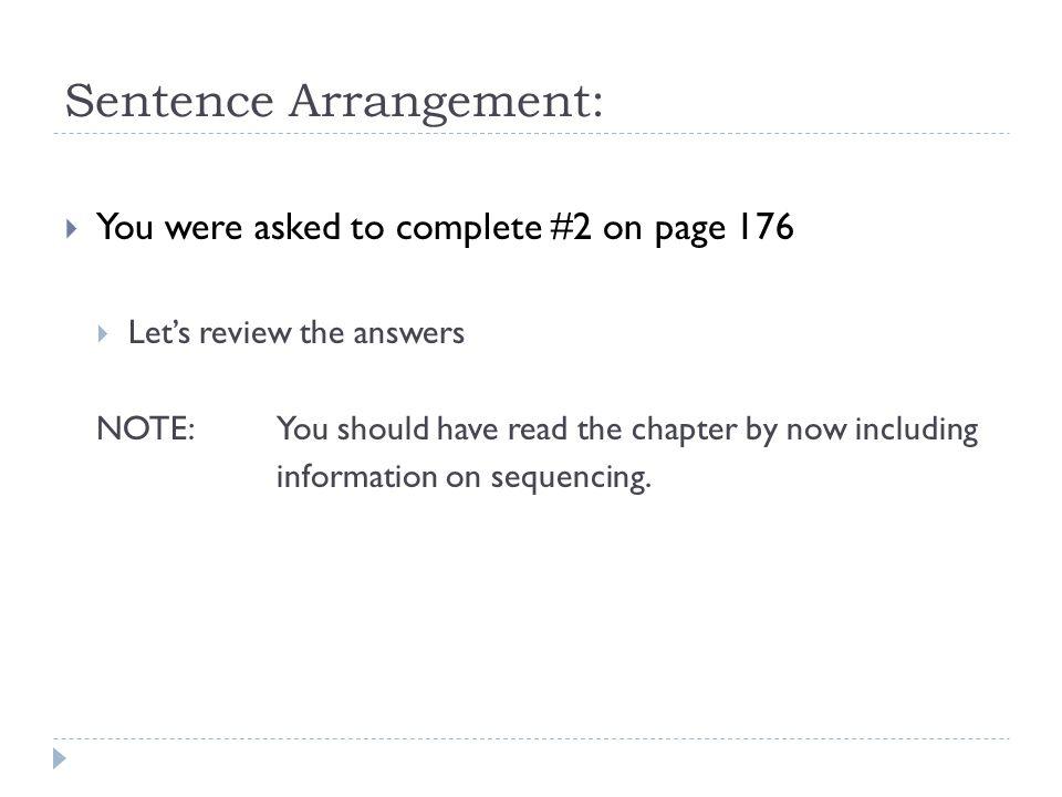 Sentence Arrangement: