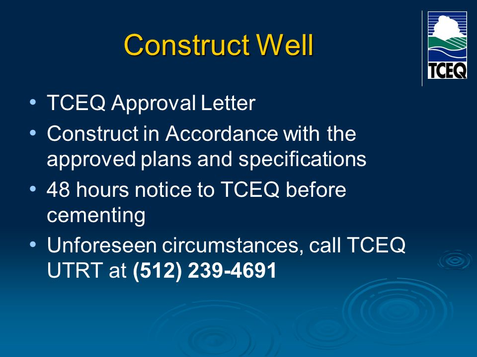 Construct Well TCEQ Approval Letter