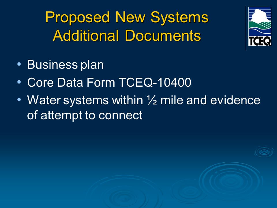 Proposed New Systems Additional Documents