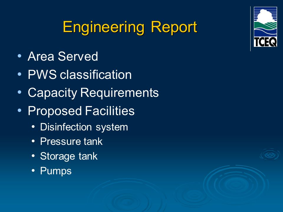 Engineering Report Area Served PWS classification