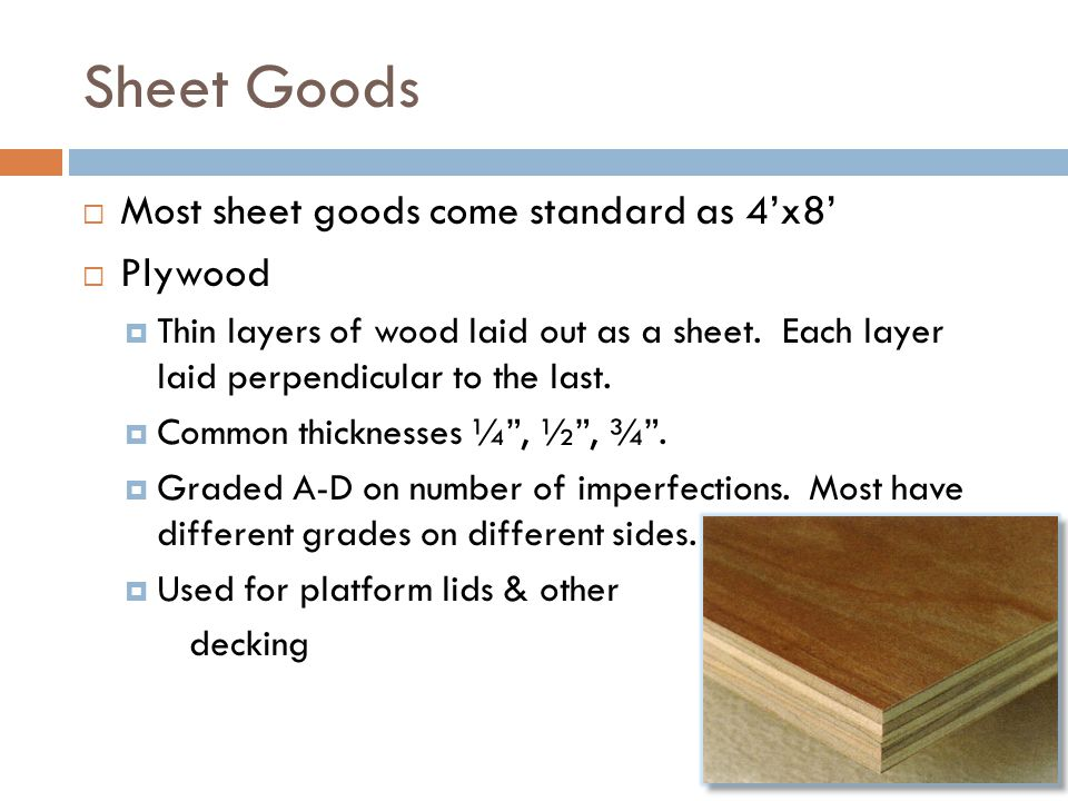 Sheet Goods Most sheet goods come standard as 4'x8' Plywood