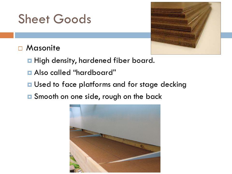 Sheet Goods Masonite High density, hardened fiber board.