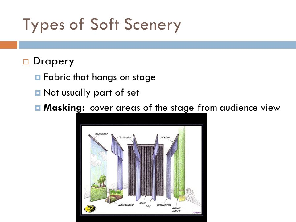 Types of Soft Scenery Drapery Fabric that hangs on stage