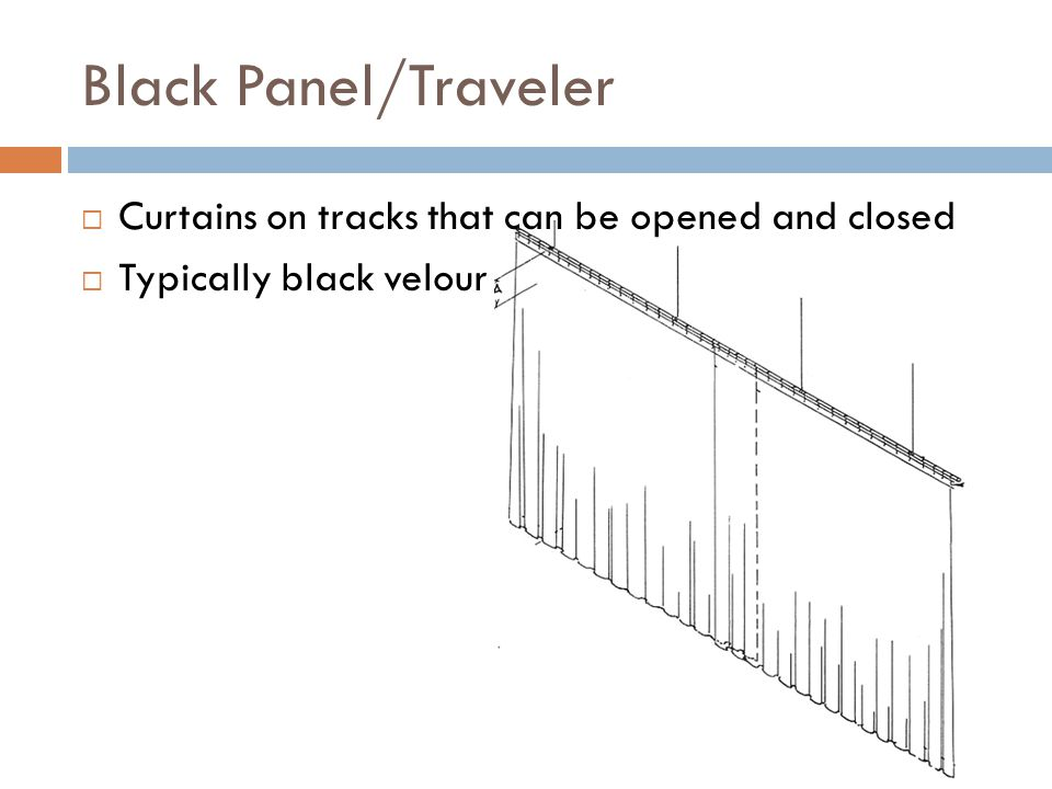 Black Panel/Traveler Curtains on tracks that can be opened and closed