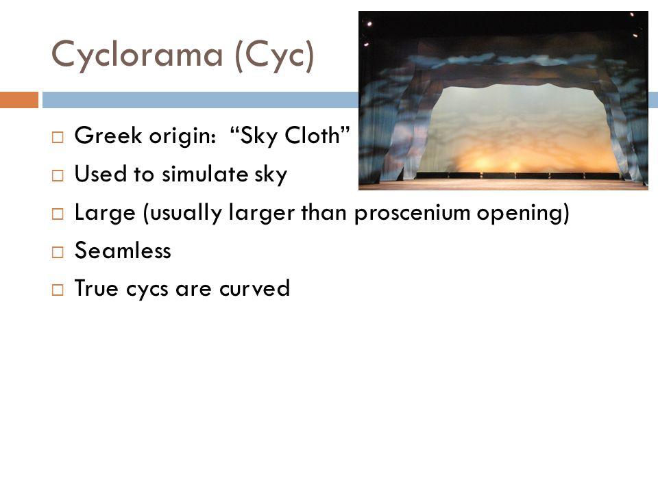 Cyclorama (Cyc) Greek origin: Sky Cloth Used to simulate sky