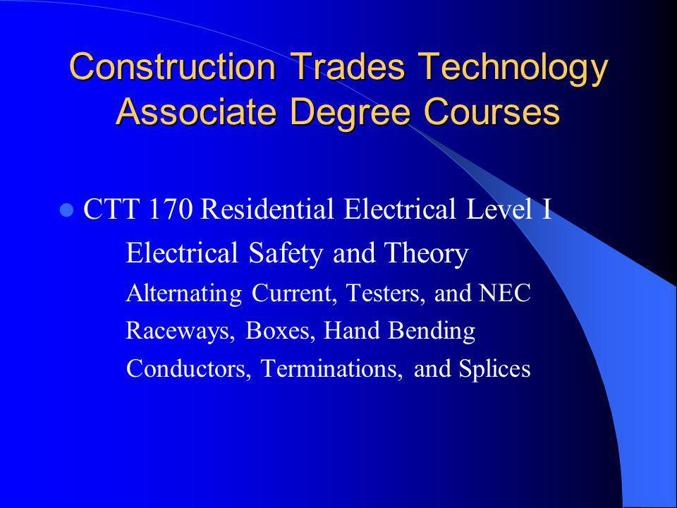 Construction Trades Technology Associate Degree Courses
