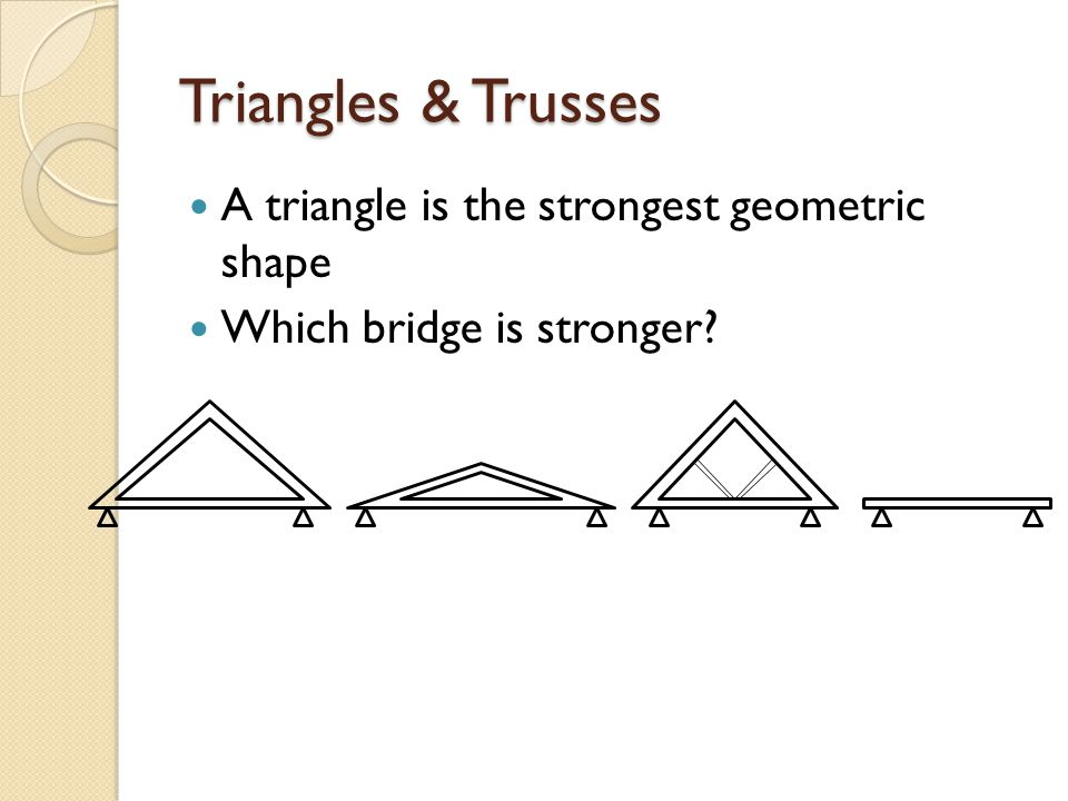 Triangles & Trusses A triangle is the strongest geometric shape