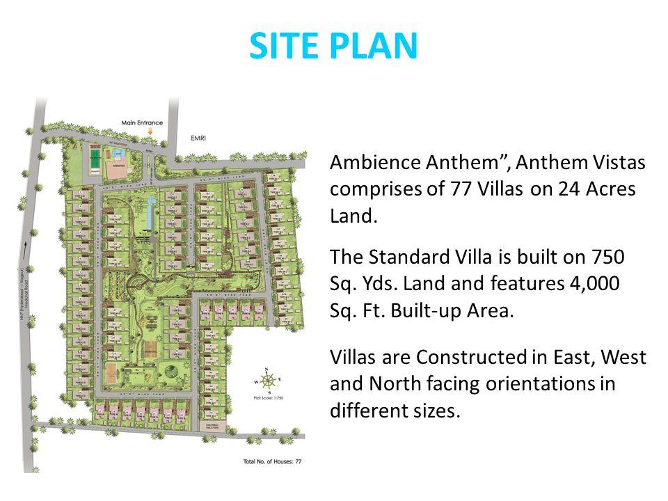 SITE PLAN Ambience Anthem , Anthem Vistas comprises of 77 Villas on 24 Acres Land.