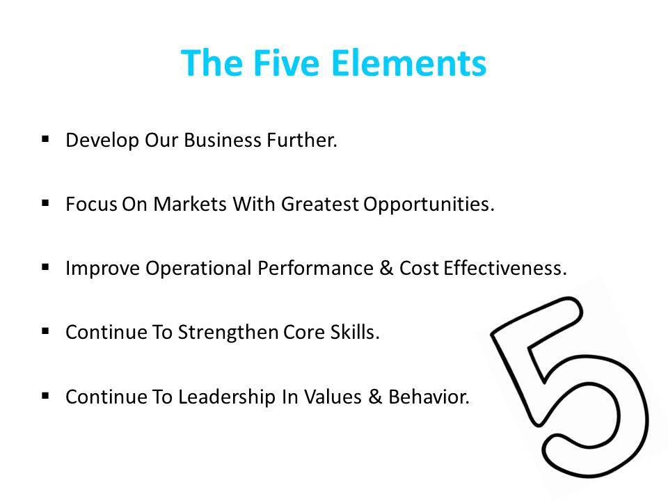 The Five Elements Develop Our Business Further.