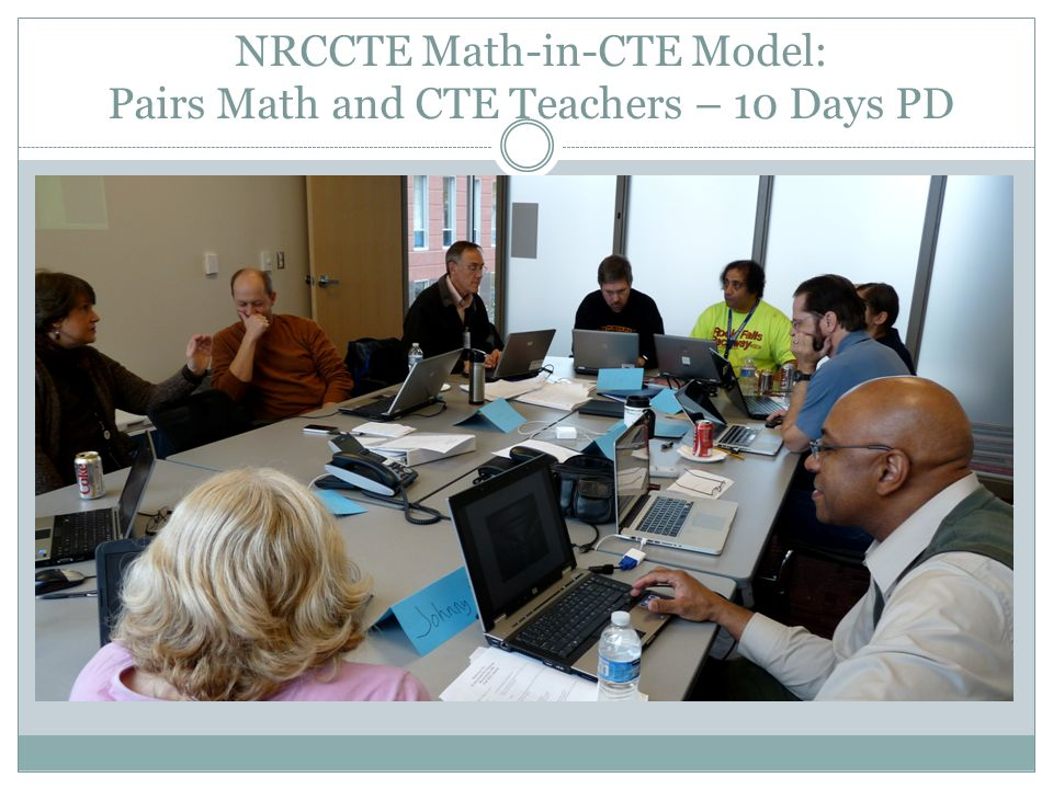 NRCCTE Math-in-CTE Model: Pairs Math and CTE Teachers – 10 Days PD