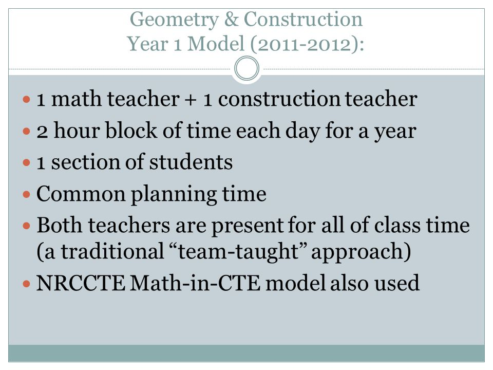 Geometry & Construction Year 1 Model (2011-2012):
