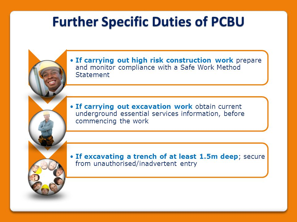 Further Specific Duties of PCBU