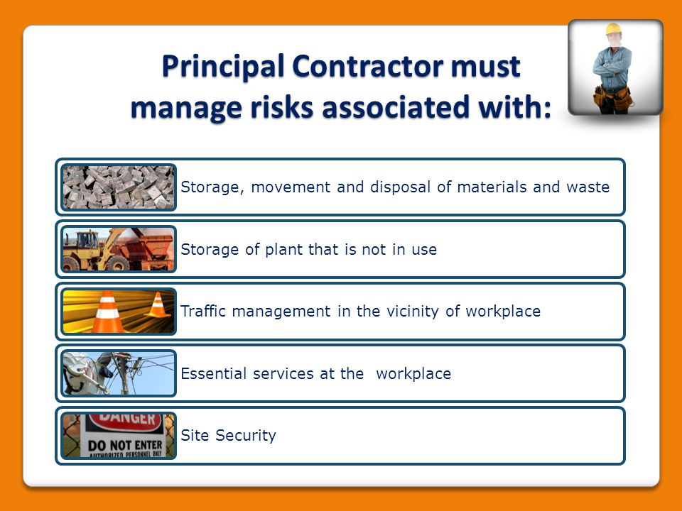 Principal Contractor must manage risks associated with: