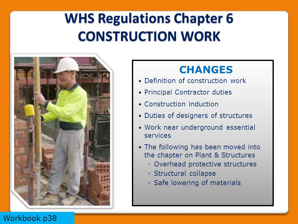 WHS Regulations Chapter 6 CONSTRUCTION WORK