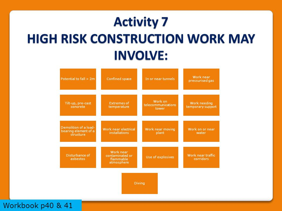 Activity 7 HIGH RISK CONSTRUCTION WORK MAY INVOLVE: