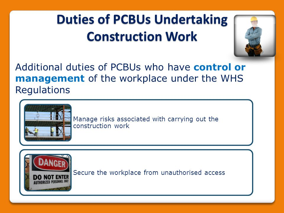 Duties of PCBUs Undertaking Construction Work