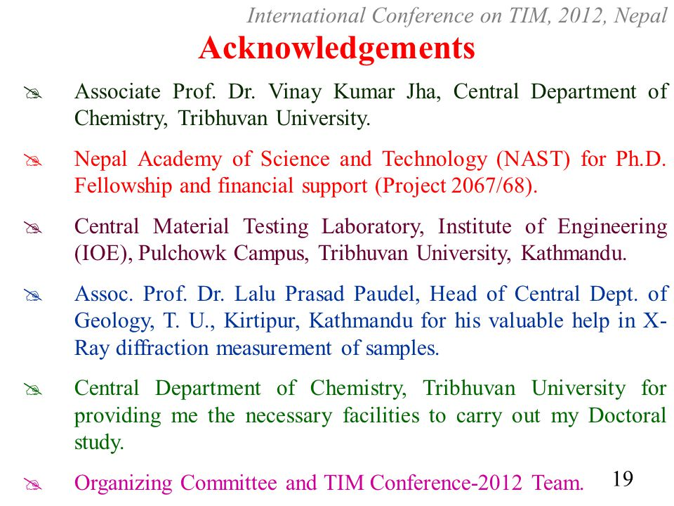 Acknowledgements International Conference on TIM, 2012, Nepal