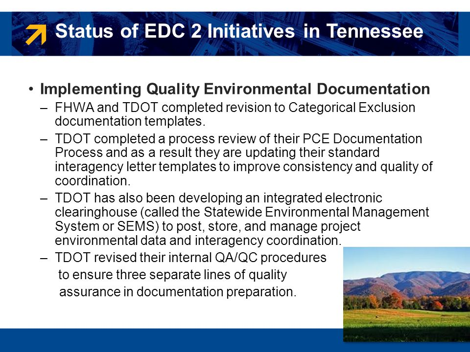 Status of EDC 2 Initiatives in Tennessee