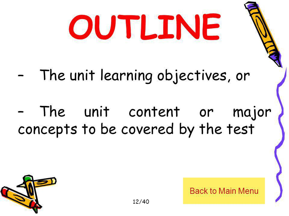 OUTLINE The unit learning objectives, or