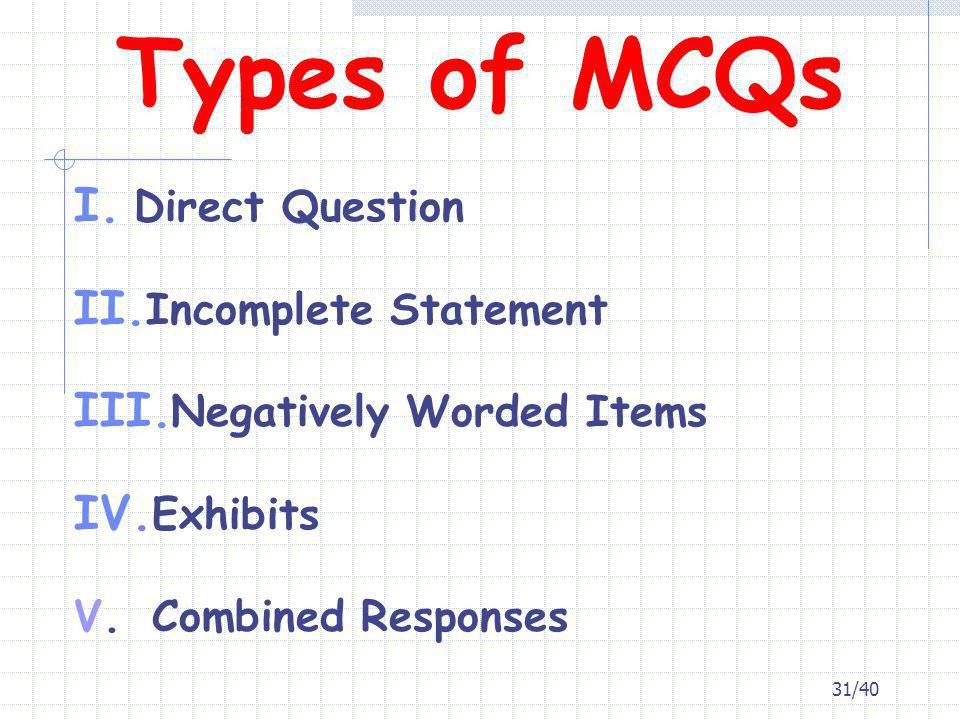 Types of MCQs Direct Question Incomplete Statement