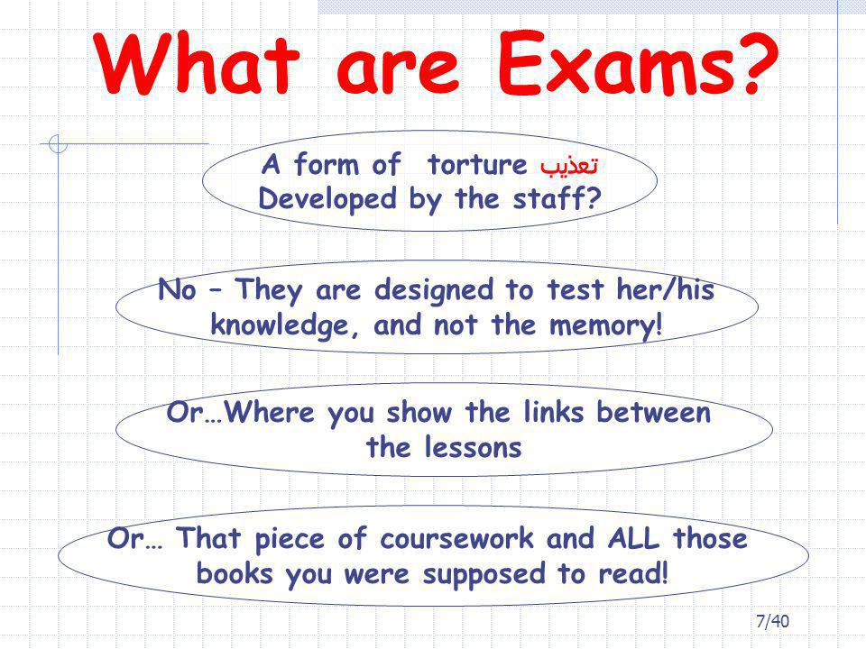 What are Exams A form of torture تعذيب Developed by the staff