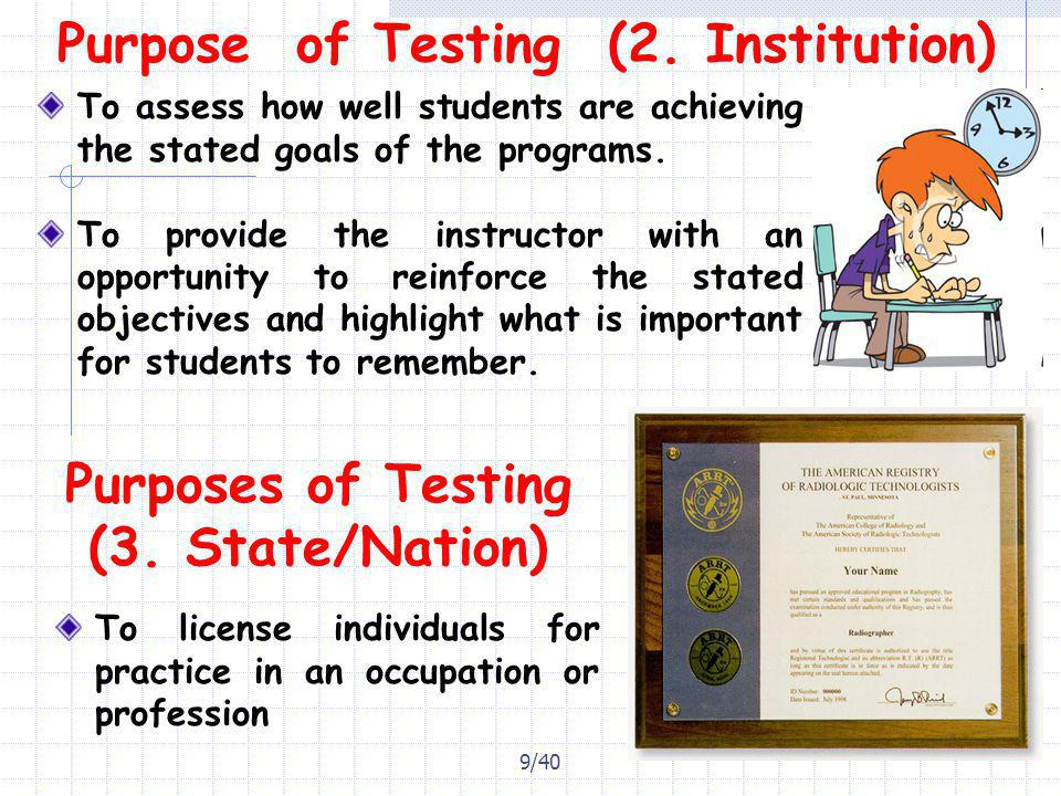 Purpose of Testing (2. Institution)