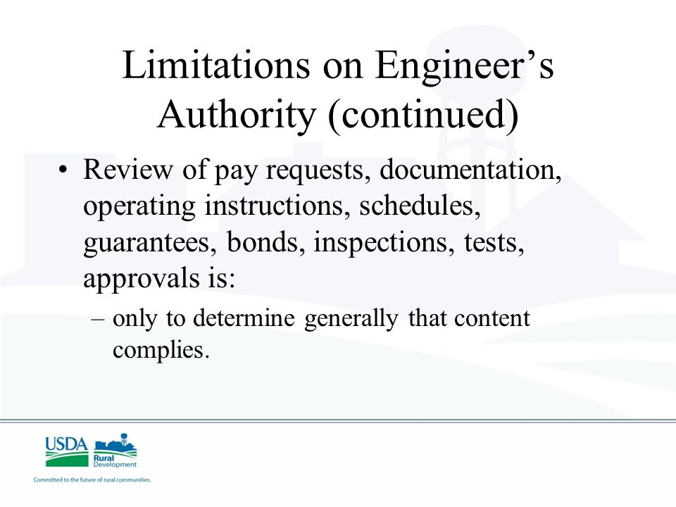 Limitations on Engineer's Authority (continued)