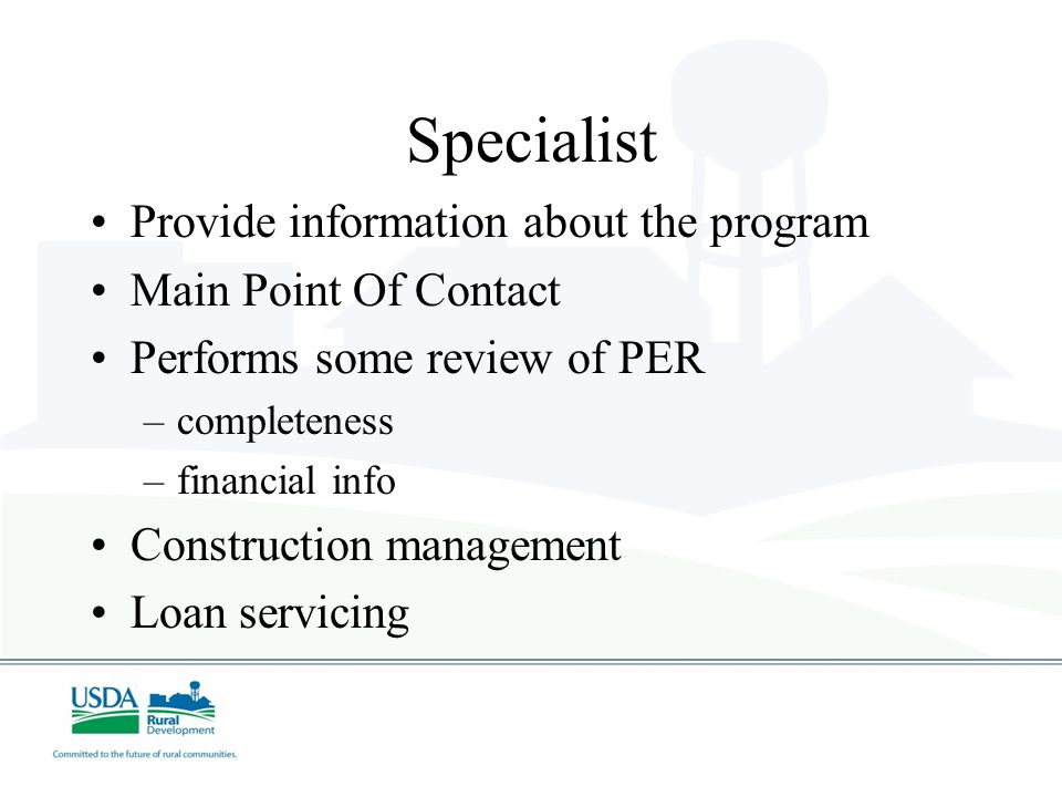 Specialist Provide information about the program Main Point Of Contact
