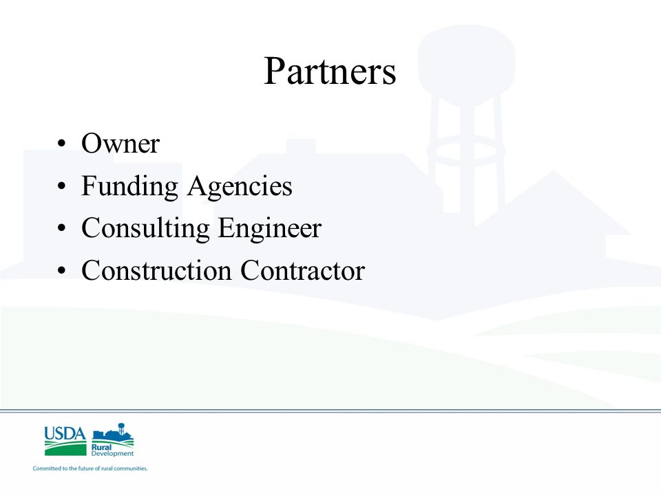 Partners Owner Funding Agencies Consulting Engineer