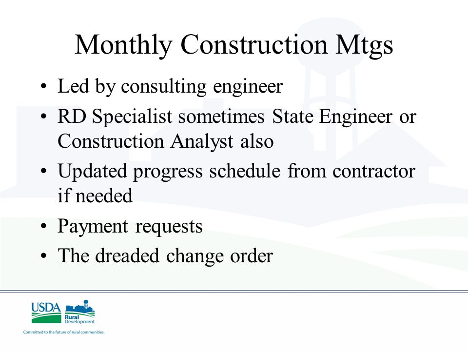 Monthly Construction Mtgs