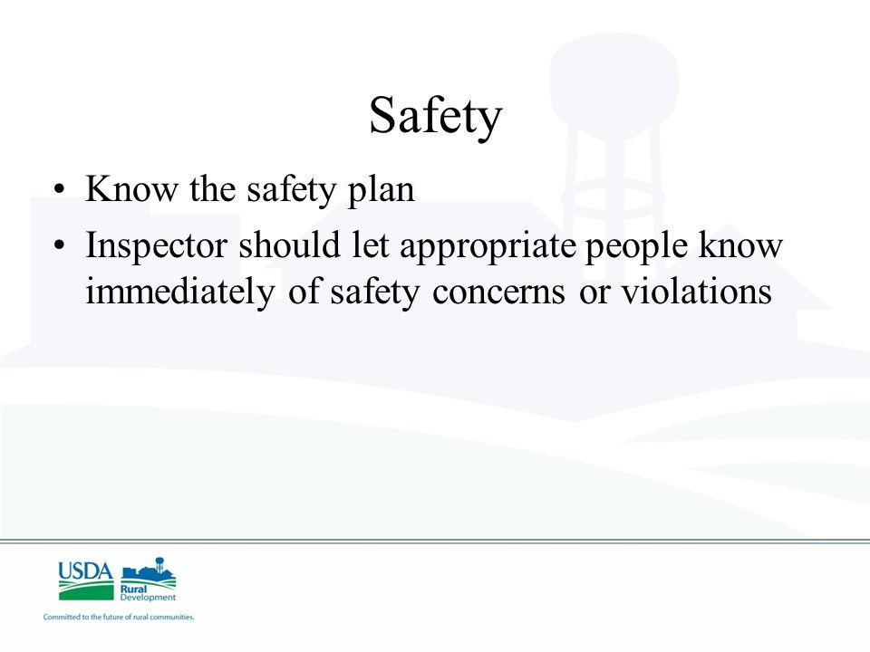 Safety Know the safety plan