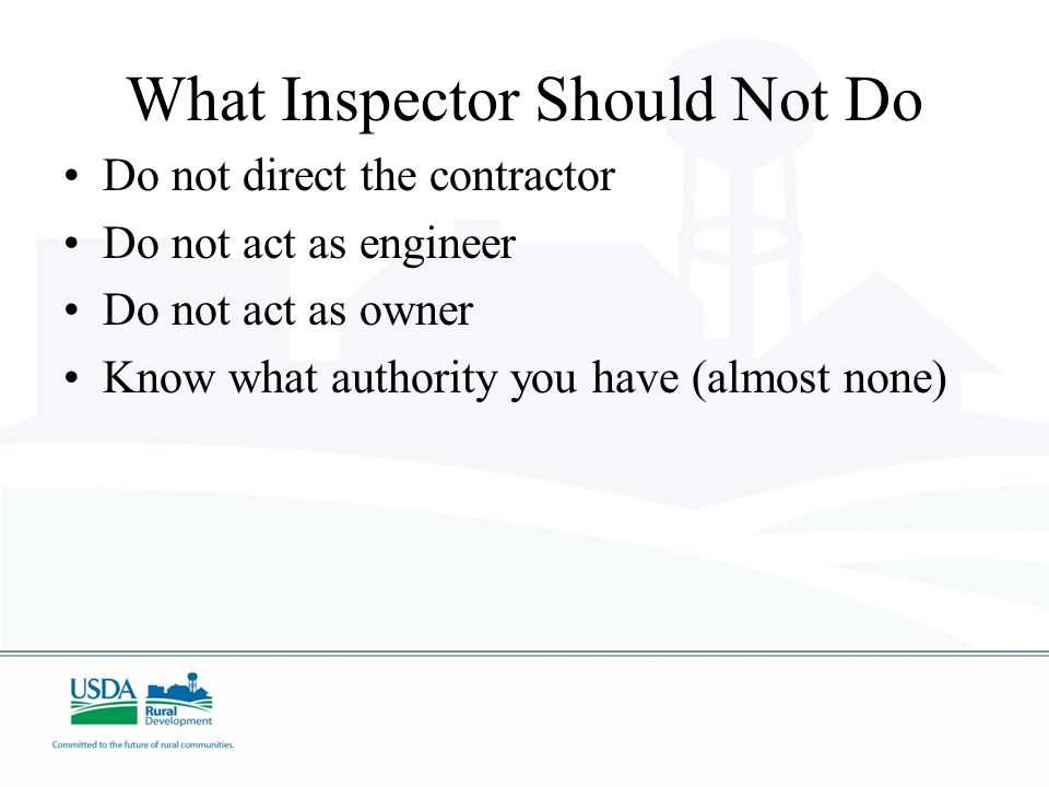 What Inspector Should Not Do